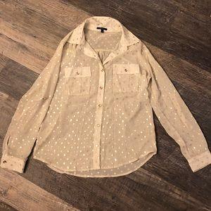 Gold polka dot button down dress shirt, size Small